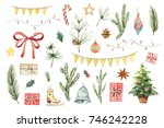 Watercolor Christmas set with fir branches, balls, gifts, garlands and bow. Illustration for your holiday design isolated on a white background.