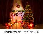 lighting christmas tree  xmas... | Shutterstock . vector #746244016
