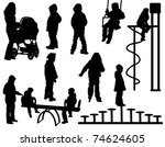 A collection of silhouettes of children playing - stock vector
