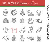 new year icons. 2018 the year... | Shutterstock .eps vector #746247922