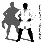 a scientist or doctor standing... | Shutterstock .eps vector #746254996