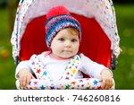 cute little beautiful baby girl ... | Shutterstock . vector #746260816