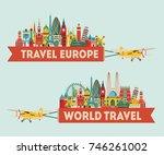 world famous monuments. travel... | Shutterstock .eps vector #746261002