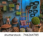 Vintage colorful furniture and other staff at shop at Jaffa flea market district in Tel Aviv-Jaffa, Israel.