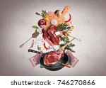 meat and beef meatballs with... | Shutterstock . vector #746270866