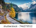 colorful autumn scene of... | Shutterstock . vector #746273512