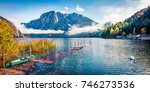 foggy autumn scene of... | Shutterstock . vector #746273536