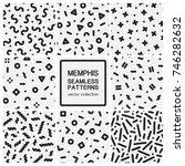 set of trendy seamless patterns ... | Shutterstock .eps vector #746282632