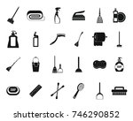 cleaning tools icon set. simple ... | Shutterstock .eps vector #746290852