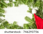 christmas background with santa ... | Shutterstock . vector #746293756