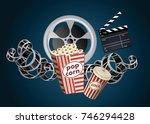 movie film reel and popcorn | Shutterstock . vector #746294428