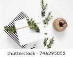 modern christmas flatlay. black ...   Shutterstock . vector #746295052