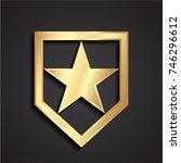3d golden geometric shield with ...   Shutterstock .eps vector #746296612