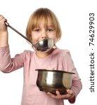 happy chef girl stirring soup.... | Shutterstock . vector #74629903