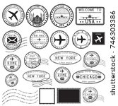 tourist stamps and postmarks.... | Shutterstock .eps vector #746303386