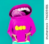 contemporary art collage.... | Shutterstock . vector #746305486