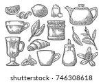 set tea. cup  branch  leaf ... | Shutterstock .eps vector #746308618