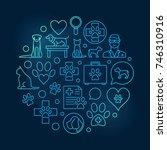 veterinary vector round blue... | Shutterstock .eps vector #746310916