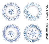 set of decorative porcelain... | Shutterstock .eps vector #746311732