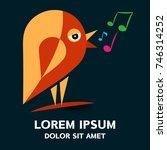 bird singing logo . vector... | Shutterstock .eps vector #746314252