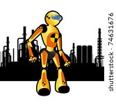 Animated construction site test robot - stock vector