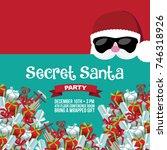 cartoon secret santa christmas... | Shutterstock .eps vector #746318926