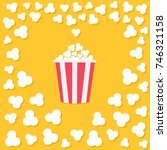 popcorn popping. heart shape... | Shutterstock .eps vector #746321158