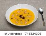 punpkin purree soup with... | Shutterstock . vector #746324308
