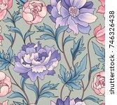 floral pattern  flower rose... | Shutterstock .eps vector #746326438