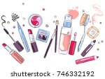 sketch of cosmetics products ... | Shutterstock .eps vector #746332192