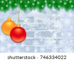 winter christmas blue frosty...   Shutterstock . vector #746334022