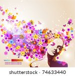 portrait of beautiful young... | Shutterstock .eps vector #74633440