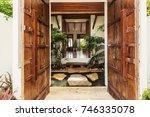 wooden doors  beautiful luxury... | Shutterstock . vector #746335078