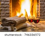 home sweet home. two glasses ... | Shutterstock . vector #746336572
