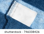 blank white clothes label on... | Shutterstock . vector #746338426