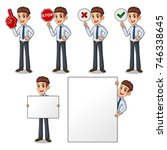 set of businessman in shirt... | Shutterstock .eps vector #746338645