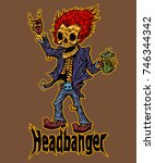 headbanger skeleton heavy metal ... | Shutterstock .eps vector #746344342