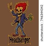 headbanger skeleton heavy metal ... | Shutterstock .eps vector #746344342