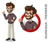 set of hipster businessman... | Shutterstock .eps vector #746346418