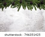 christmas white background with ... | Shutterstock . vector #746351425