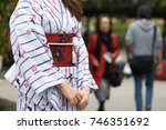 young girl wearing japanese... | Shutterstock . vector #746351692