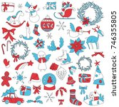christmas elements set with... | Shutterstock .eps vector #746355805