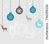 merry christmas and new year... | Shutterstock .eps vector #746358106