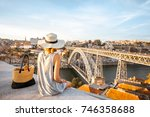 young woman tourist enjoying... | Shutterstock . vector #746358688
