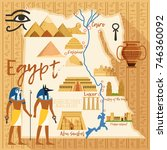 stylized map of egypt with... | Shutterstock .eps vector #746360092