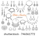fashionable boho jewelry... | Shutterstock .eps vector #746361772