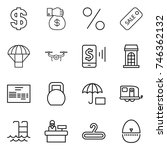 thin line icon set   dollar ... | Shutterstock .eps vector #746362132