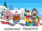 happy family standing outside... | Shutterstock .eps vector #746367472