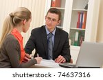 manager man and businesswoman on interview in the office - stock photo