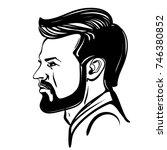 beard man and haircut. icon... | Shutterstock .eps vector #746380852